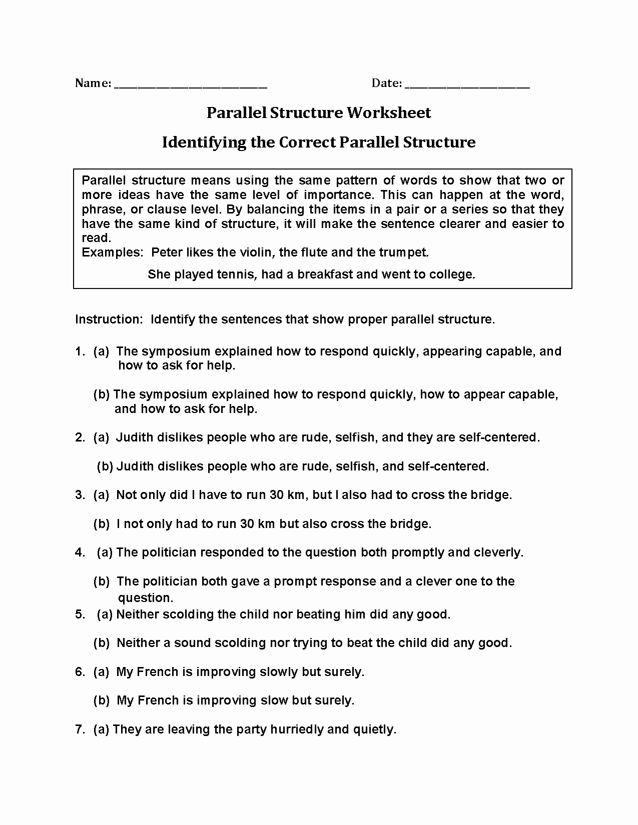 Parallel Structure Worksheet with Answers New Englishlinx