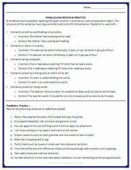 Parallel Structure Worksheet with Answers New Parallel Sentence Structure Grammar Worksheets