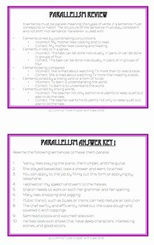 Parallel Structure Worksheet with Answers Unique Parallel Sentence Structure Grammar Worksheets