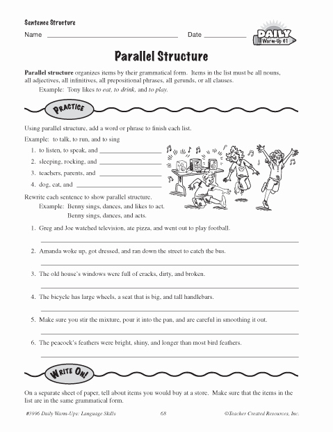 Parallel Structure Worksheet with Answers Unique Parallel Structure