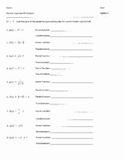 Parent Function Worksheet Answers Fresh Answers Parent Function Name Parent Function Worksheet 1