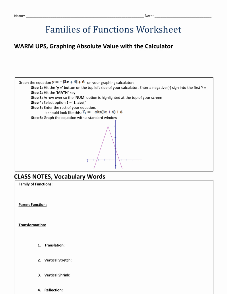 Parent Function Worksheet Answers Luxury Families Of Functions Worksheet