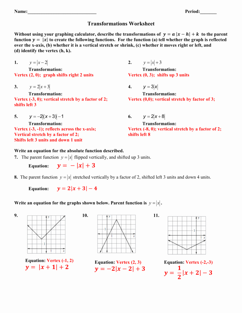 Parent Functions and Transformations Worksheet Awesome Absolute Value Transformations