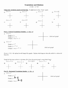 Parent Functions and Transformations Worksheet Inspirational Parent Functions Transformations Worksheet for 8th 11th