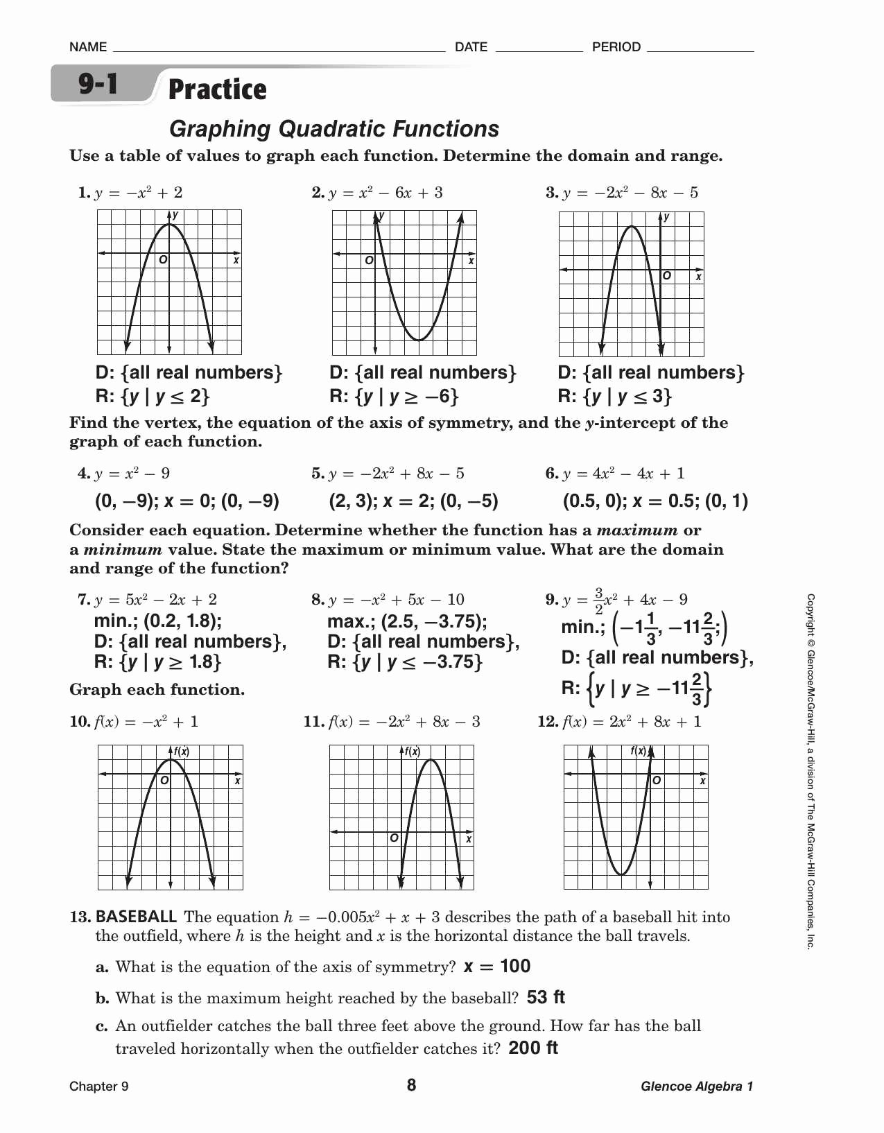 Parent Functions and Transformations Worksheet Luxury Holt Mcdougal Algebra 2 Worksheet Answers Coastalbend