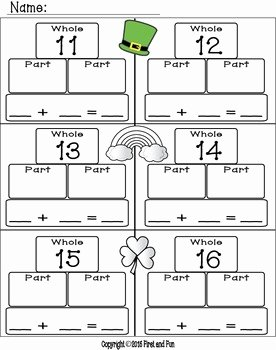 Part Part whole Worksheet Awesome St Patrick S Day Addition Part Part whole Mat Worksheets