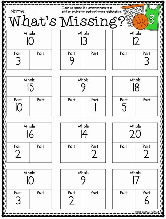 Part Part whole Worksheet Fresh Number Bonds Part Part whole Math Mon Core Crunch