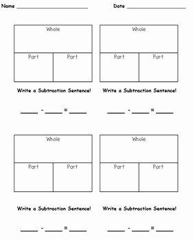 Part Part whole Worksheet Inspirational Part Part whole Subtraction Practice Singapore Math by the