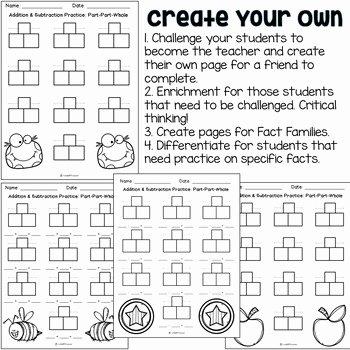 Part Part whole Worksheet Unique Addition & Subtraction Worksheets Part Part whole