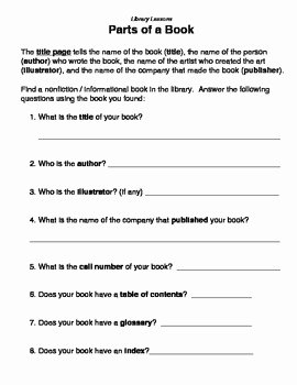 Parts Of A Book Worksheet Awesome Parts Of A Book Library L by Lucky Librarian