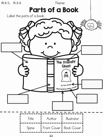 Parts Of A Book Worksheet Fresh Halloween Kindergarten Language Arts Worksheets