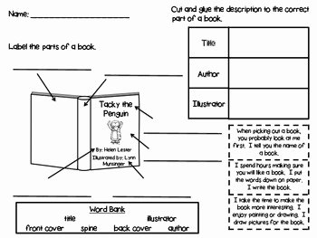 Parts Of A Book Worksheet Inspirational Parts Of A Book Printable by Brandy withers at Firstie