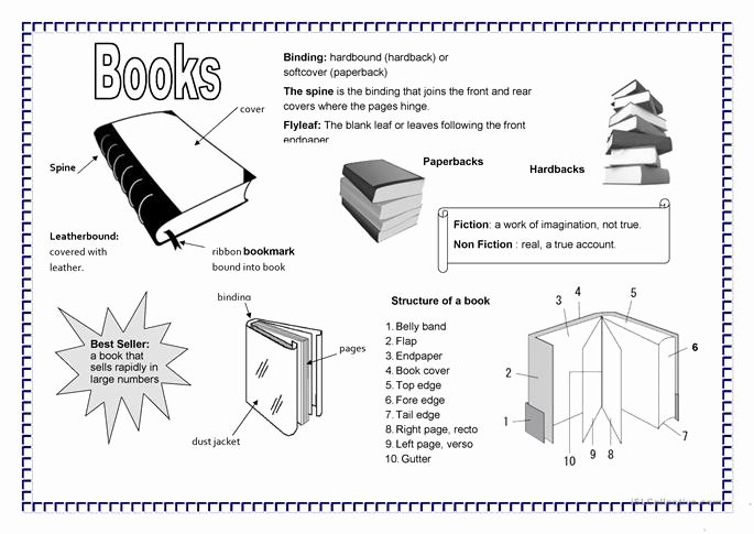 Parts Of A Book Worksheet Lovely Parts Of A Book Worksheet Free Esl Printable Worksheets