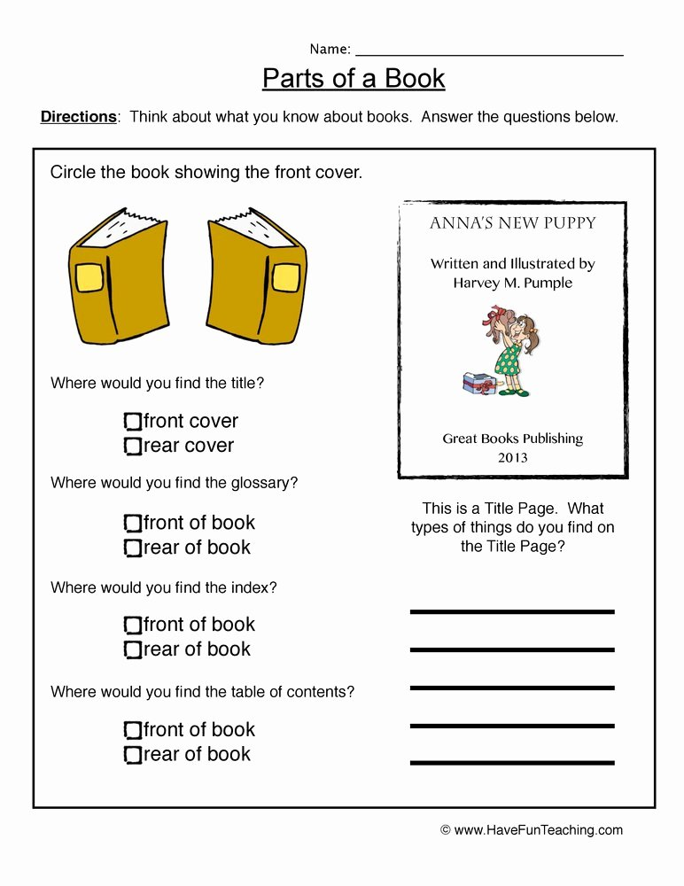 Parts Of A Book Worksheet Luxury Book Parts Worksheet