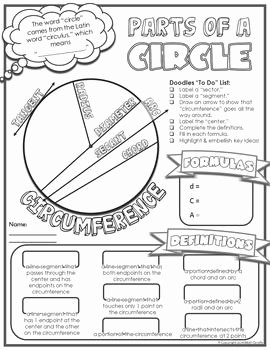 Parts Of A Circle Worksheet Lovely Parts Of A Circle Doodle Notes Teaching Ideas