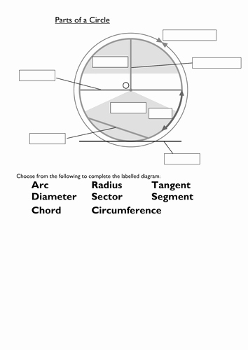 Parts Of A Circle Worksheet Luxury Naming Parts Of A Circle Starter by Tristanjones