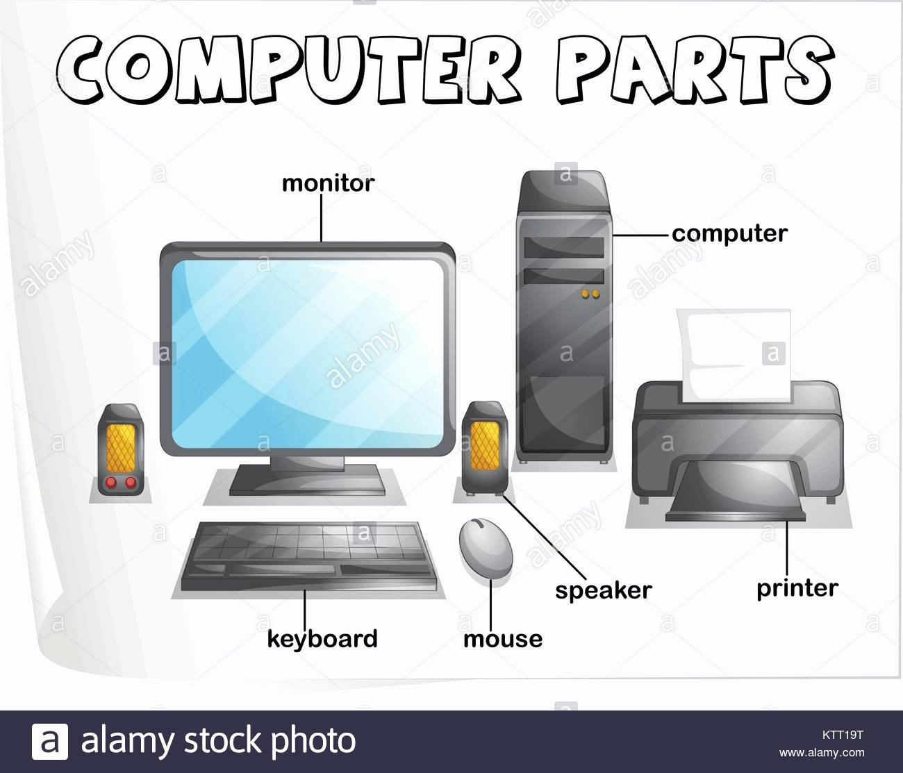 Parts Of A Computer Worksheet New Illustration Of Puter Parts Worksheet Stock Vector Art