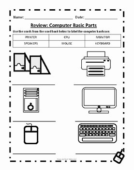 Parts Of A Computer Worksheet New Puter Basic Parts Worksheet by Deans Ink