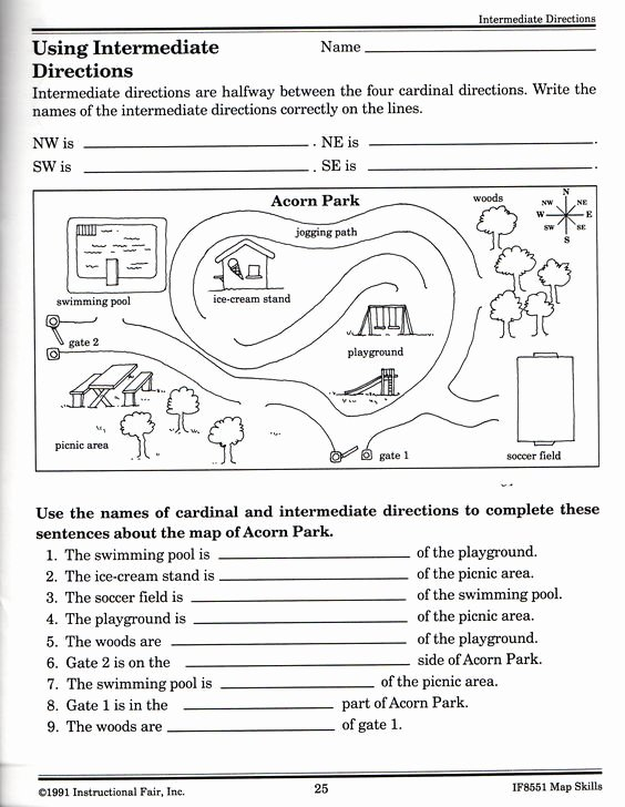 Parts Of A Map Worksheet Awesome Intermediate Directions Worksheet Science