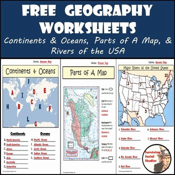 Parts Of A Map Worksheet Luxury Free Geography Worksheets Continents Oceans Usa Rivers