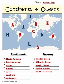 Parts Of A Map Worksheet Unique Free Geography Worksheets Continents Oceans Usa Rivers