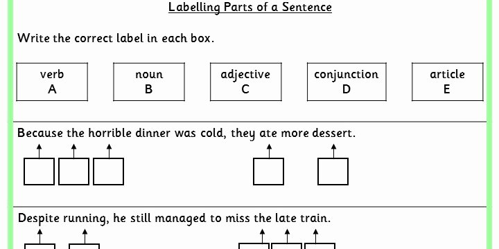 Parts Of A Sentence Worksheet Awesome Labelling Parts Of A Sentence Ks2 Spag Test Practice