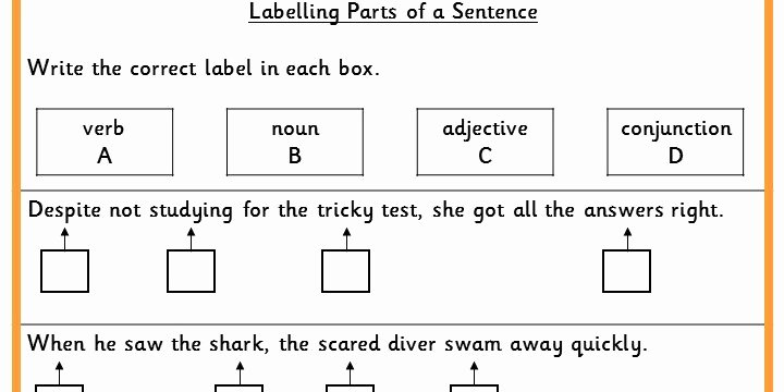 Parts Of A Sentence Worksheet Elegant Labelling Parts Of A Sentence Ks2 Spag Test Practice
