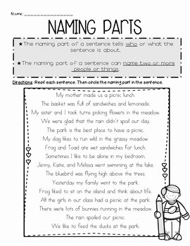 Parts Of A Sentence Worksheet Inspirational Naming and Telling Parts Of by Jamie Jacobs