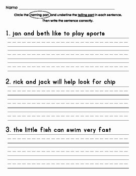 Parts Of A Sentence Worksheet New Identifying Naming Part and Telling Part Of Sentences
