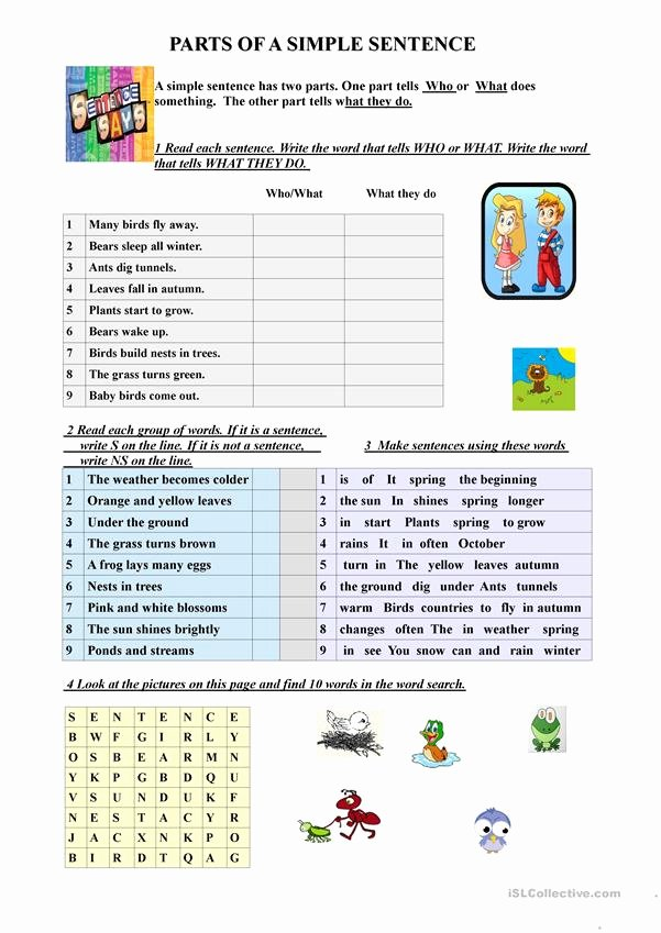 Parts Of A Sentence Worksheet New Parts Of A Simple Sentence English Esl Worksheets