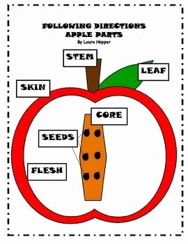 Parts Of An Apple Worksheet Lovely Following Directions Apple Parts Color Cut and Paste