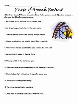 Parts Of Speech Review Worksheet Luxury 3rd Grade Parts Of Speech Review by Whittle Woods