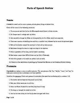 Parts Of Speech Review Worksheet New Parts Of Speech Review with Practice Sentences by Monicac