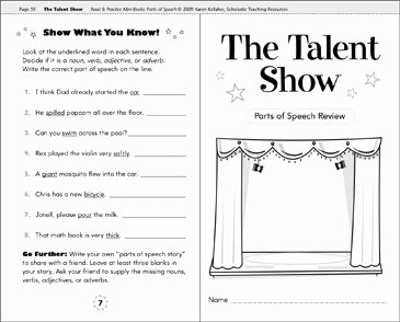 Parts Of Speech Review Worksheet New the Talent Show Parts Of Speech Review