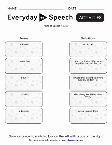 Parts Of Speech Review Worksheet Unique Worksheets