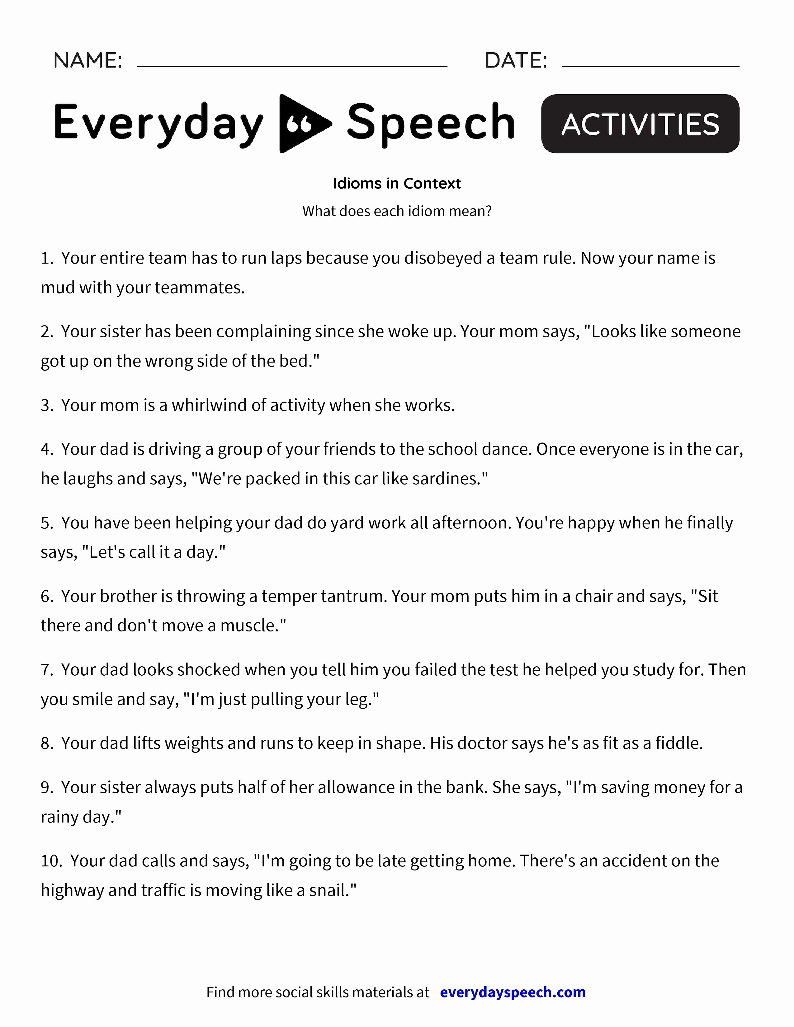 Parts Of Speech Worksheet Pdf Beautiful Idioms In Context Everyday Speech Everyday Speech