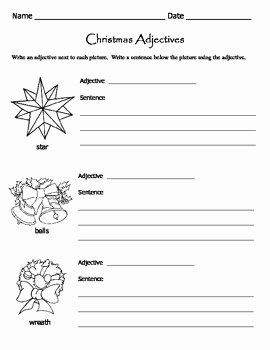 Parts Of Speech Worksheet Pdf Best Of Christmas Adjectives Worksheets Parts Of Speech