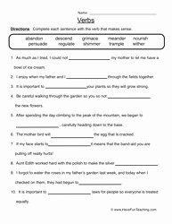 Parts Of Speech Worksheet Pdf Elegant 14 Best Of Verb Worksheets Middle School Subject