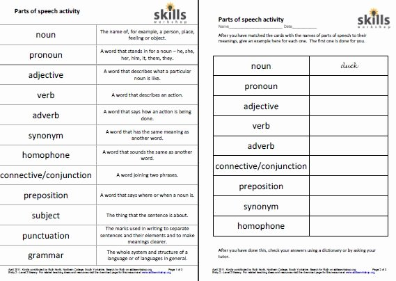 Parts Of Speech Worksheet Pdf Elegant Parts Of Speech Activity