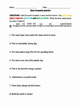 Parts Of Speech Worksheet Pdf Unique Parts Of Speech Labeling Sentences by the Adaptive