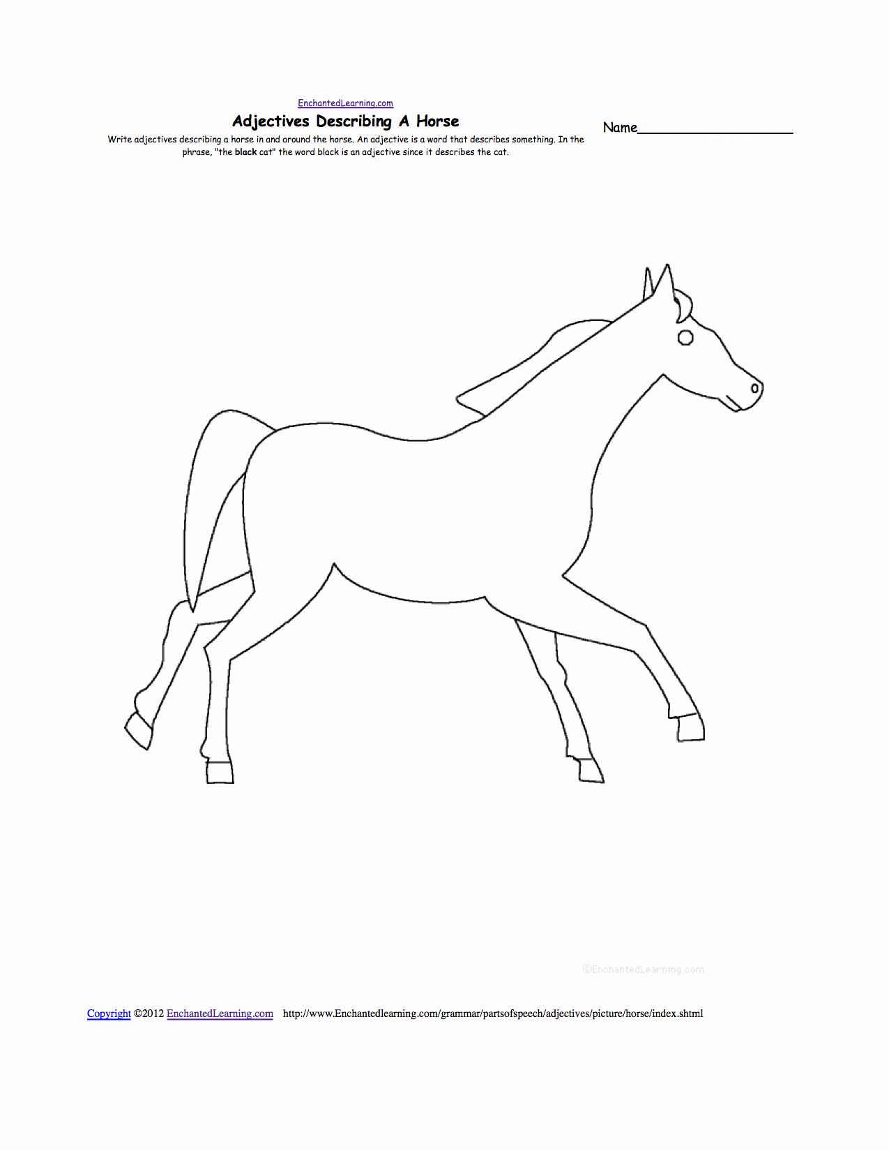 Parts Of the Horse Worksheet Unique Horses at Enchantedlearning