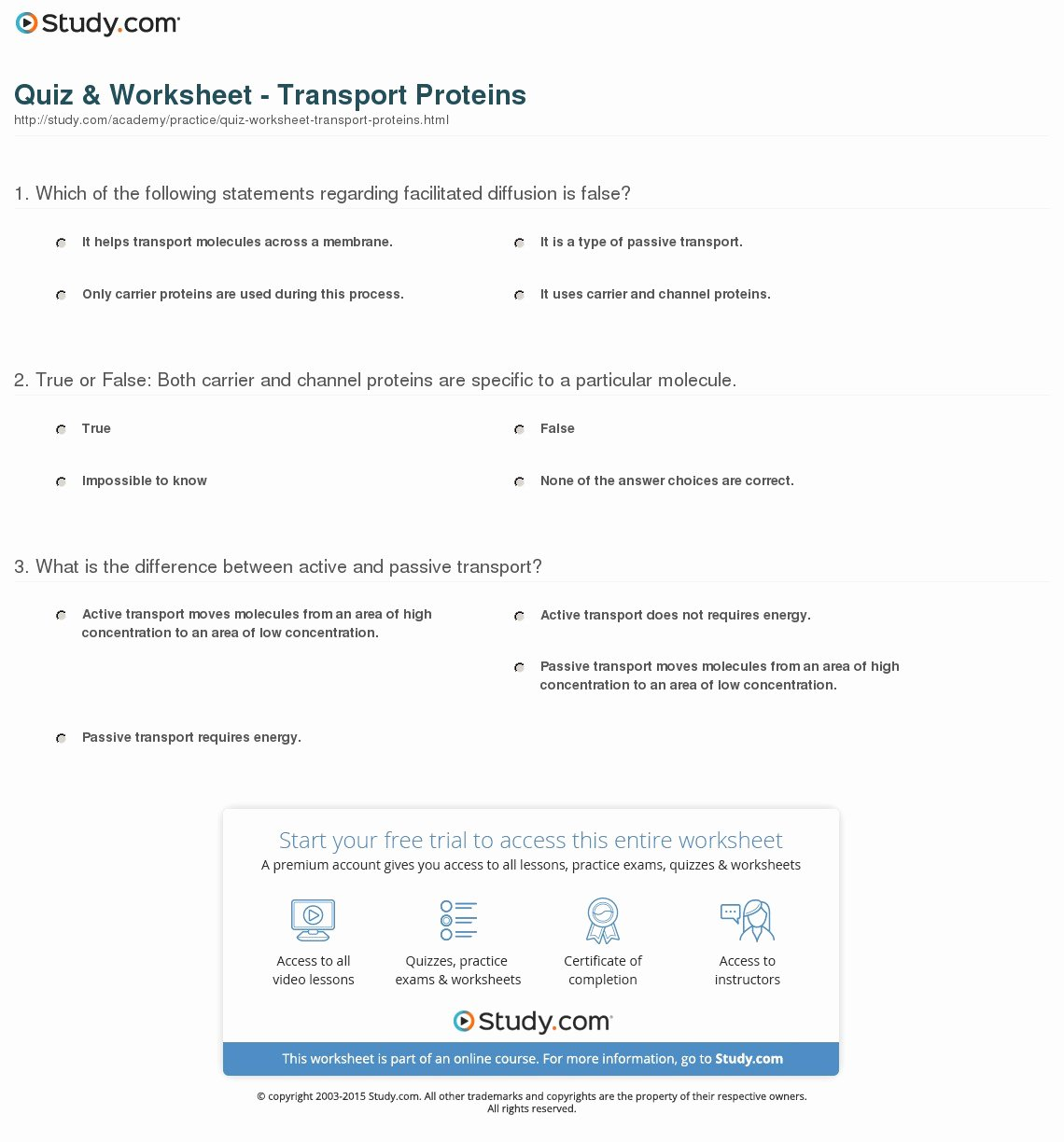 Passive Transport Worksheet Answers Lovely which Of the Following Statements is True About Passive