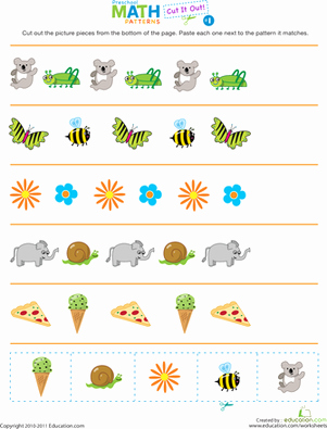 Patterns Worksheet for Kindergarten Awesome Cut It Out Patterns 1 Worksheet