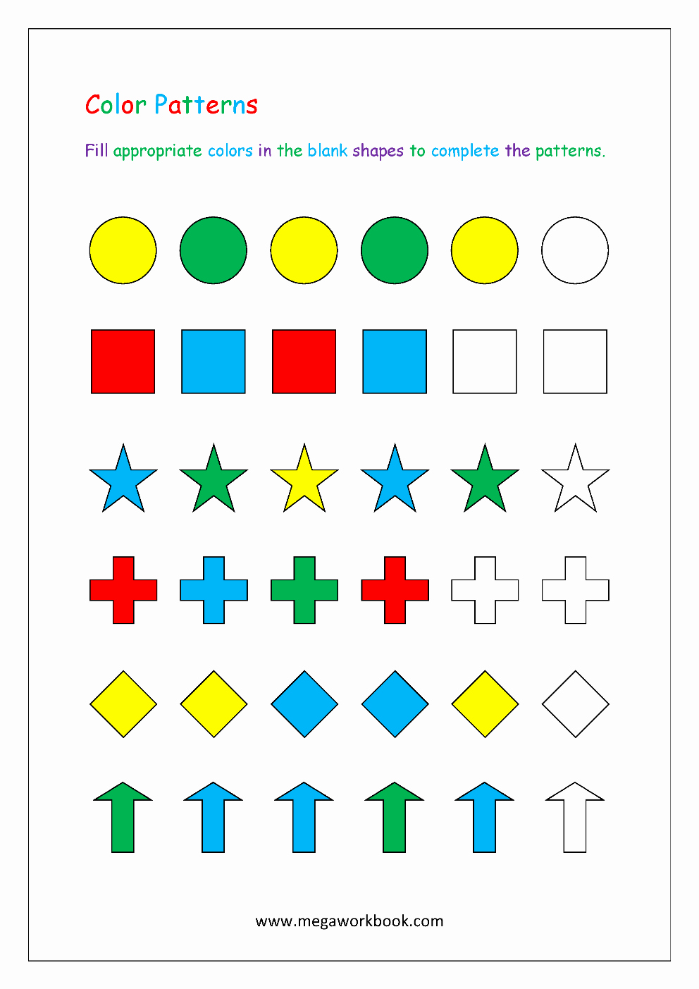 Patterns Worksheet for Kindergarten Awesome Pattern Worksheets for Kindergarten Color Patterns