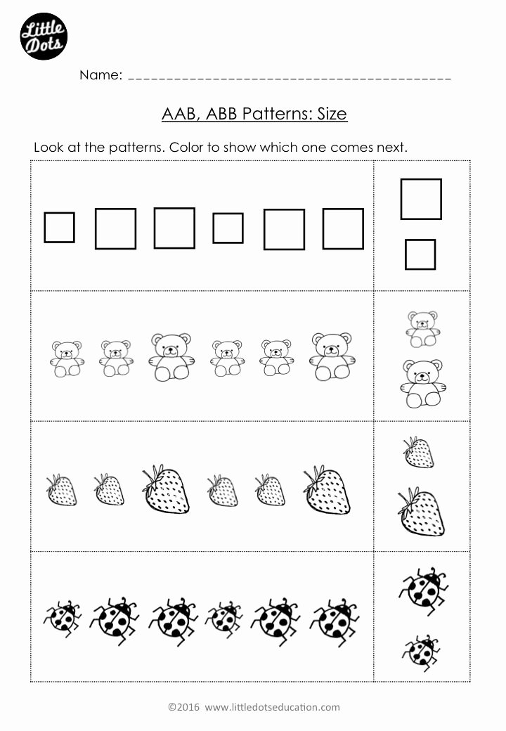 Patterns Worksheet for Kindergarten Elegant Free Aab and Abb Patterns Worksheet for Kindergarten Level