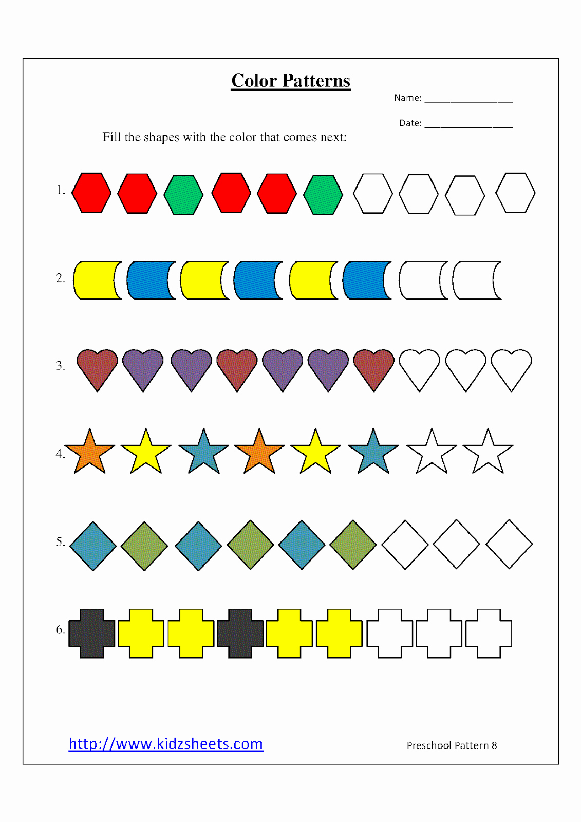 Patterns Worksheet for Kindergarten Elegant Kidz Worksheets Preschool Color Patterns Worksheet8