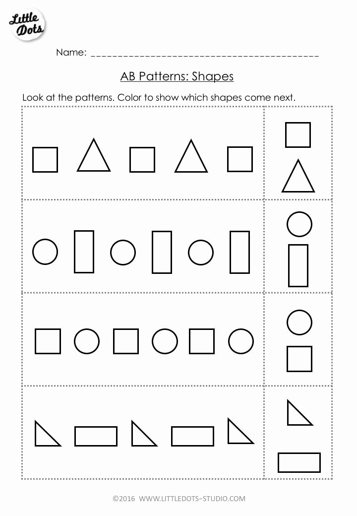 Patterns Worksheet for Kindergarten Fresh Best 25 Shape Patterns Ideas On Pinterest