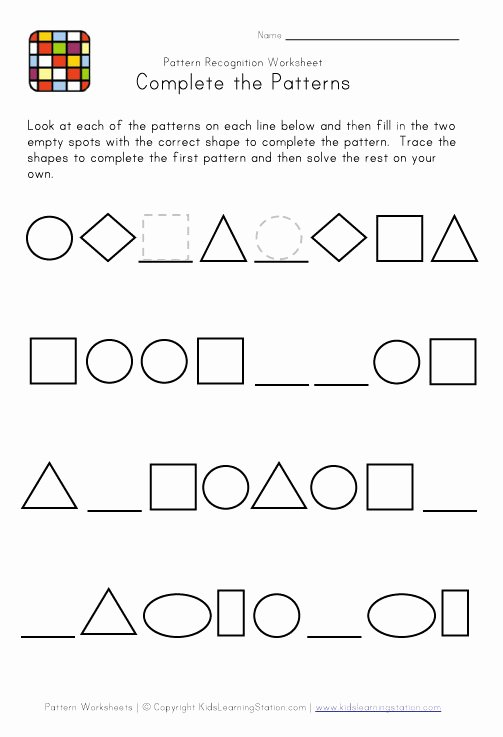 Patterns Worksheet for Kindergarten Fresh Difficult Pattern Recognition Black and White Worksheet