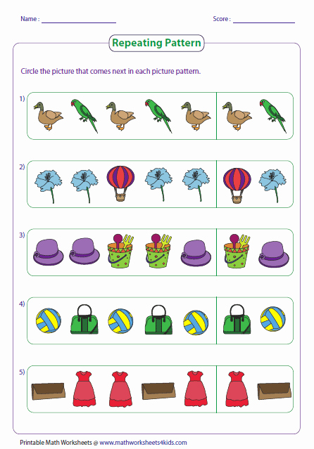 Patterns Worksheet for Kindergarten Inspirational Pattern Worksheets