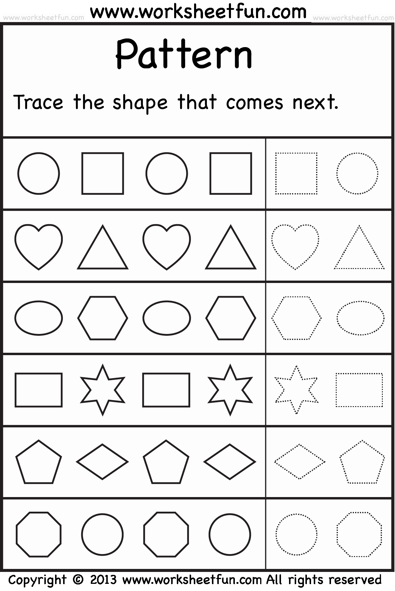 Patterns Worksheet for Kindergarten Inspirational Patterns – Trace the Shape that Es Next – 2 Worksheets